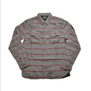 Vans RUSKIN Red Gray Striped Button Up Shirt